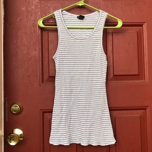 Tops - Grey and white striped tank top